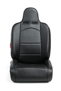 Universal Cipher Auto Reclineable Suspension/Jeep Seats, Black Leatherette/Carbon Fiber PU w/Black Piping