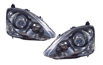 2001-2003 Honda Civic Dimension Lab Headlight (Black Housing, With Projector) - Pair