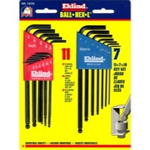 1979-1985 Buick Riviera Eklind Tool Company 18 Piece Combination SAE and Metric Long Ball End Hex-L Hex Key Set