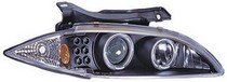 95-99 Chevrolet Cavalier In Pro Car Wear Head Lamps, Projector W/ Rings & Corners - Black Housing / Clear Projector