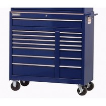 "1965-1968 Mercury Colony_Park International Tool Box 42"" 15 Drawer Mobile Work Cabinet - Blue"