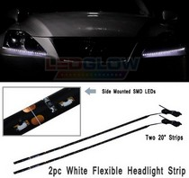 All Cars (Universal), All Jeeps (Universal), All Muscle Cars (Universal), All SUVs (Universal), All Trucks (Universal), All Vans (Universal) LEDGlow Flexible LED Headlight Strip Kit 20 INCH- 2-Piece (White with Amber Turn Signals)