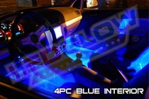 All Cars (Universal), All Jeeps (Universal), All Muscle Cars (Universal), All SUVs (Universal), All Trucks (Universal), All Vans (Universal) LEDGlow Interior LED Kit - 4-Piece (Blue)