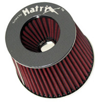 1980-1987 Audi 4000 Matrix Air Filters - Carbon Fiber Top (Red)