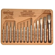 1978-1981 Buick Century Mayhew 150th Anniversary 14 Piece Punch and Chisel Set With Hardwood Tray