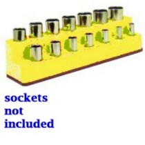 1974-1983 Mercedes 240D Mechanics Time Saver 3/8 in. Drive 14 Hole Neon Yellow Impact Socket Holder