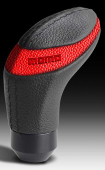1984-1993 Mercedes C-class MOMO Quark Shift Knob (Black Urethane, Red Leather Insert)