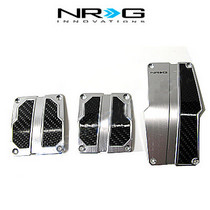 1998-2000 Mercury Mystique NRG Innovations MT Brushed Aluminum Sport Pedals (Silver w/ Black Carbon)