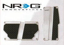 1998-2000 Mercury Mystique NRG Innovations AT Brushed Aluminum Sport Pedals (Silver w/ Black Carbon)