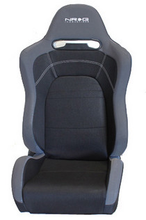 All Jeeps (Universal), All Vehicles (Universal) NRG Innovations EVO Style Black Cloth Sport Seat w/ Logo (Left)