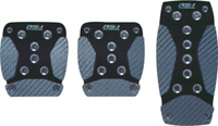 1979-1983 Ford Mustang Pilot Pedals - 3 Pc Manual Anodized Aluminum Set w/ Carbon Fiber Insert (Black)