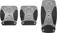 1979-1983 Ford Mustang Pilot Pedals - 3 Pc Manual Anodized Aluminum Set w/ Carbon Fiber Insert (Nickel)