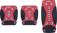 1979-1983 Ford Mustang Pilot Pedals - 3 Pc Manual Anodized Aluminum Set w/ Carbon Fiber Insert (Red)