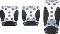 1991-1996 Ford Escort Pilot Pedals - 3 Pc Manual Anodized Aluminum Set w/ Carbon Fiber Insert (Silver)
