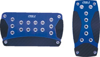 1979-1983 Ford Mustang Pilot Pedals - 2PC Automatic Anodized Aluminum Set w/ Carbon Fiber Insert (Blue)
