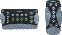 1979-1983 Ford Mustang Pilot Pedals - 2PC Automatic Anodized Aluminum Set w/ Carbon Fiber Insert (Black)