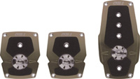 1979-1983 Ford Mustang Pilot Pedals - 3 Pc Manual Anodized w/ Anti-Slip Surface Set (Nickel)