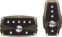 1968-1974 Ford Galaxie Pilot Pedals - 2PC Automatic Anodized w/ Anti-Slip Surfact Set (Nickel)