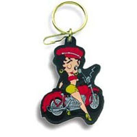 2002-2002 Lincoln Blackwood Plasticolor Key Chains - Betty Boop On Motorcycle