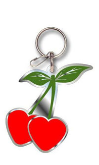 2002-2002 Lincoln Blackwood Plasticolor Key Chains - Cherry Heart Enamel