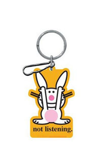 "2002-2002 Lincoln Blackwood Plasticolor Key Chains - Happy Bunny ""Not Listening"""