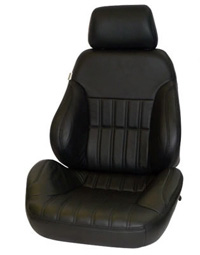 1977-1979 Mercury Cougar Procar Racing Seat - Rally Series 1000, Black Vinyl, Smooth Back (Left)