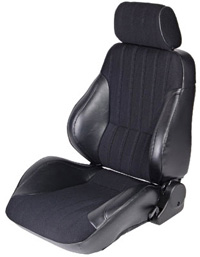1973-1979 Ford F150 Procar Racing Seat - Rally Series 1000, Black Vinyl Sides, Black Velour Insert (Left)