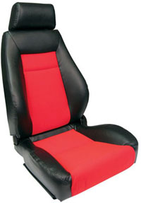 All Jeeps (Universal), Universal - Fits All Vehicles Procar Racing Seat - Elite Series 1100, Black Vinyl Sides, Red Velour Insert (Right)