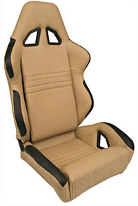 All Jeeps (Universal), Universal - Fits All Vehicles Procar Racing Seat - Rave Series 1600, Beige Vinyl (Right)