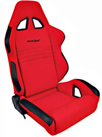 1962-1967 Chevrolet Nova Procar Racing Seat - Rave Series 1600, Red Velour (Left)