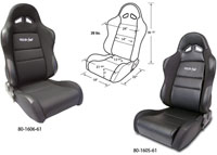 1962-1967 Chevrolet Nova Procar Racing Seat - Sportsman Series, Black Vinyl Inside, Black Velour Wings & Side Bolsters (Left)