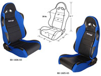 2002-2004 Volvo S40 Procar Racing Seat - Sportsman Series, Black Vinyl Inside, Blue Velour Wings & Side Bolsters (Left)