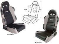 2002-2004 Volvo S40 Procar Racing Seat - Sportsman Series, Black Velour Inside, Grey Velour Wings & Side Bolsters (Left)