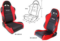 2002-2004 Volvo S40 Procar Racing Seat - Sportsman Series, Black Velour Inside, Red Velour Wings & Side Bolsters (Left)