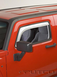 05-08 Hummer H3 Putco Side Window Deflectors - Element Front (Chrome)