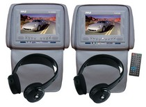 "2008-9999 Mini Clubman Pyle Adjustable Headrests 7"" TFT/LCD Monitor w/ Built in Single DVD Player & IR/FM Transmitter With Cover & Headphones (Gray)"