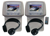 "1986-1992 Mazda RX7 Pyle Adjustable Headrests 7"" TFT/LCD Monitor w/ Built in Single DVD Player & IR/FM Transmitter With Cover & Headphones (Tan)"