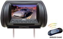 "1986-1992 Mazda RX7 Pyle Adjustable Hideaway Headrest 7"" TFT Video Monitor W/Built In  DVD/USB/SD Player & Wireless IR/FM Transmitter/ Built In 32 Video Game System"