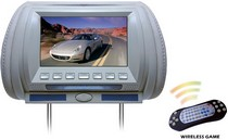 "1998-2003 Toyota Sienna Pyle Adjustable Hideaway Headrest 7"" TFT Video Monitor w/Built-In  DVD/USB/SD Player & Wireless IR/FM Transmitter/ Built-in 32 Video Game System (GREY COLOR)"