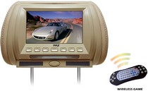 "2008-9999 Mini Clubman Pyle Adjustable Hideaway Headrest 7"" TFT Video Monitor w/Built-In  DVD/USB/SD Player & Wireless IR/FM Transmitter/Built-in 32 Video Game System (GREY COLOR)"