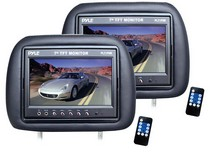 "1960-1964 Ford Galaxie Pyle Adjustable Headrest Pair with Built-in 7"" TFT-LCD Monitors (Black)"