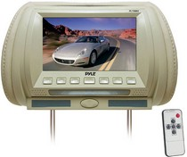 "2003-2008 Nissan 350z Pyle Adjustable Hideaway Headrest 7"" TFT Video Monitor (Tan)"