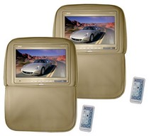 2003-2008 Nissan 350z Pyle Pair of Adjustable Headrests w/ Built-In 9.2 TFT Monitor (Tan)