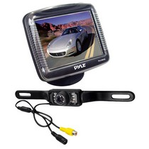 "2006-9999 Mazda Miata Pyle 3.5"" Slim TFT LCD Universal Mount Monitor w/ License Plate Mount Rearview Night Vision Backup Camera"