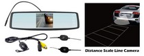 "2006-9999 Mazda Miata Pyle Rearview Mirror Wireless Back-Up Camera System w/ 4.3"" TFT Touch Screen & Universal Mount Low Lux Camera w/ Distance Scale Line"