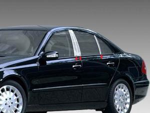 Black Pillar Posts fit Mercedes E-Class 03-09 W211 6pc Set Door Cover Trim
