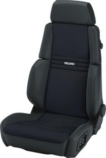 1993-1998 Volkswagen Golf Recaro Orthoped Comfort Seat - Leather Black Bolster - Artista Black Insert Material - Grey Logo (Driver Side)