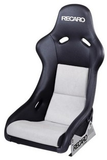 1995-1999 BMW M3 Recaro Pole Position Racing Seat - Leather Black Bolster - Suede Grey Insert Material - Silver Logo (Driver or Passenger)