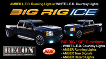 "1973-1979 Ford F350 Recon 48"" BIG RIG ICE L.E.D Running Light Kit in Amber w White LED Courtesy Light - 2 Piece Set Includes Left & Right Side"