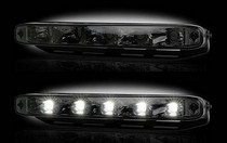 "2007-9999 Mazda CX-7 Recon LED Daytime Running Lights w White LEDs & Rectangular Shaped Housing aka ""AUDI Style"" - SMOKED LENS"